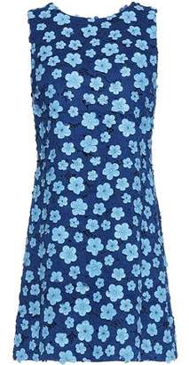 Alice+olivia Woman Floral Applique Giuipure Lace Mini Dress Blue Size 12 Alice & Olivia 0LHNCvG