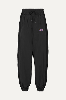 alexanderwang.t - Paneled Shell And Cotton-jersey Track Pants - Black