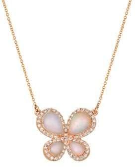 LeVian Le Vian Neopolitan Opal, Vanilla Diamond 14k Strawberry Gold Butterfly Necklace