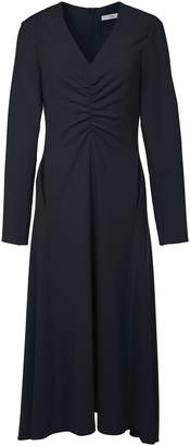 Tibi Triacetate Ruched V-Neck Dress