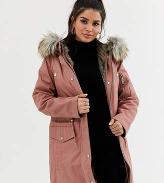 Asos DESIGN Petite parka with detachable faux fur liner