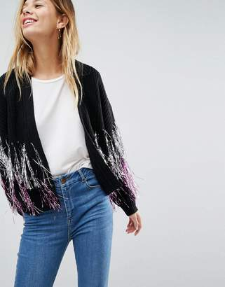 Asos Cardigan with Metallic Fringe Detail