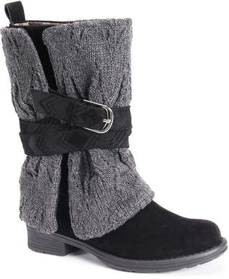 Muk Luks Womens Nikita Water Resistant Winter Boots Block Heel Pull-on