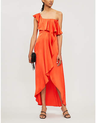 Alexis Austyn one-shoulder ruffle-trimmed silk-crepe dress