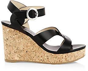 Jimmy Choo Women's Aleili Leather Cork Wedges