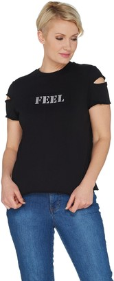 Peace Love World Cold Shoulder Raw Edge Knit Top