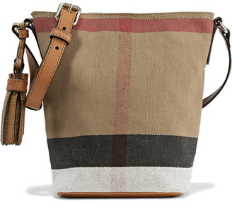 Burberry - Mini Leather-trimmed Checked Canvas Shoulder Bag - Brown $695 thestylecure.com