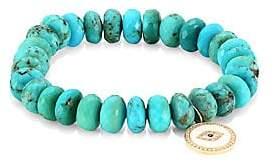 Sydney Evan 14K Yellow Gold, Diamond, Sapphire& Turquoise Evil Eye Beaded Bracelet