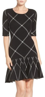 Women's Ivanka Trump Plaid Jacquard Knit Fit & Flare Dress $134 thestylecure.com