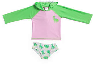 Toddler Girls 2pc Dino Love Rashguard Swim Set