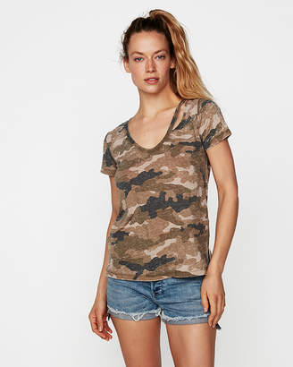 Express One Eleven Camo Slash Neck Easy Tee