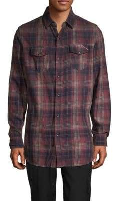 Cult of Individuality Plaid High-Low Button-Down Shirt