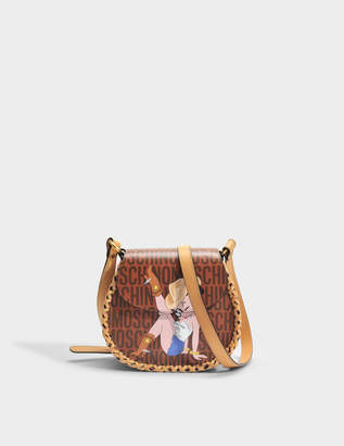 Moschino Betty Boop Shoulder Flap Bag in Camel Leather
