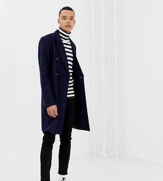 Asos DESIGN Tall wool mix double breasted overcoat in navy
