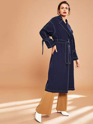 Shein Notch Collar Contrast Stitch Self Belted Trench Coat