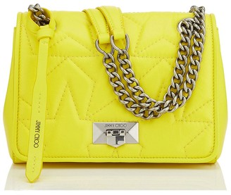 Jimmy Choo HELIA SHOULDER/S Fluorescent Yellow Star Matelasse Nappa Shoulder Bag with Silver Chain Strap