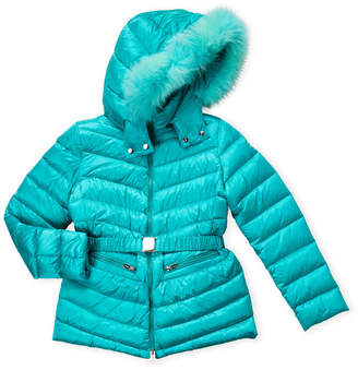 ADD Girls 7-16) Real Fur Trim Hooded Down Coat