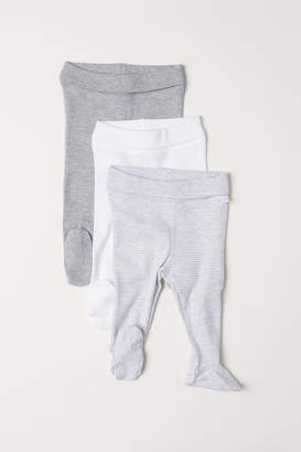 H&M 3-pack Pants with Feet - Gray