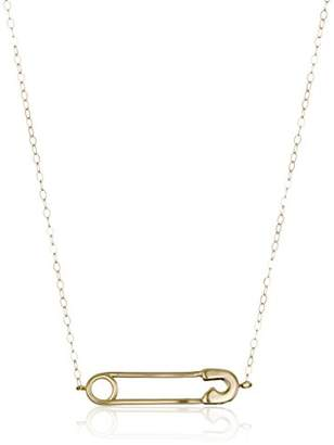 14k Gold Safety Pin Pendant Necklace