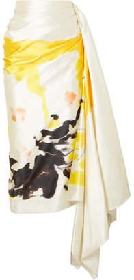 86afd7f305 Dries Van Noten Gathered Printed Cotton And Silk-blend Satin Midi Skirt -  Yellow