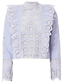 Sea Eyelet Ruffle Crop Blouse $345 thestylecure.com