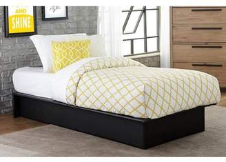 DHP Dorel Home Maven Platform Bed with Upholstered Faux Leather and Wooden Slat Support, Twin, Black