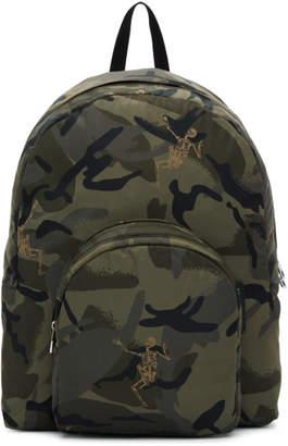 Alexander McQueen Green Small Dancing Skeletons Camouflage Backpack