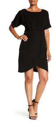 Bobeau Solid Dolman Sleeve Faux Wrap Dress