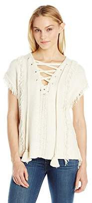 Pam & Gela Women's Fringe Baja Sweater