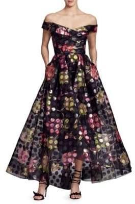 Marchesa Off-The-Shoulder Metallic Floral Tea Dress