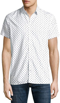 Noize Amstrdm Fish-Pattern Short-Sleeve Button Front Shirt