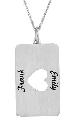 JCPenney FINE JEWELRY Personalized Sterling Silver Rectangular Heart Cutout Pendant Necklace