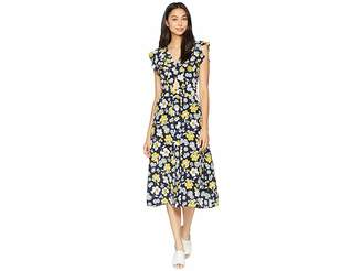 Juicy Couture Silk Garden Floral Midi Dress Women's Dress