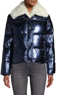 Vigoss Metallic Faux Fur-Trimmed Jacket