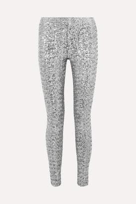 Isabel Marant Odiz Sequined Crepe Skinny Pants - Silver