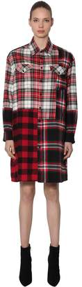 McQ Patchwork Cotton Plaid Shirt Dress