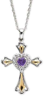 JCPenney FINE JEWELRY Amethyst & Lab-Created White Sapphire Two-Tone Cross Pendant Necklace