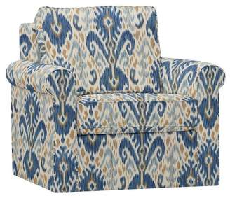 Pottery Barn Cameron Roll Arm Upholstered Swivel Armchair - Print and Pattern