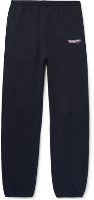 Balenciaga Tapered Logo-Print Fleece-Back Cotton-Blend Jersey Sweatpants