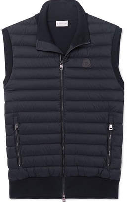 Moncler Panelled Cotton-Blend Jersey and Quilted Shell Down Gilet - Men - Navy