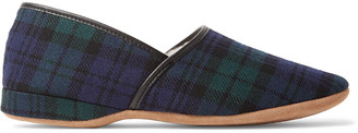 Derek Rose Crawford Shearling-Lined Checked Wool-Flannel Slippers $195 thestylecure.com