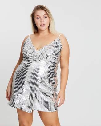 Curve Sequin Stripe Wrap Over Dress