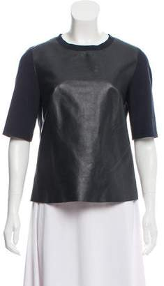 Akris Punto Leather Accent Short Sleeve Top