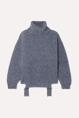 Balenciaga Ribbed Mélange Wool Turtleneck Sweater - Blue