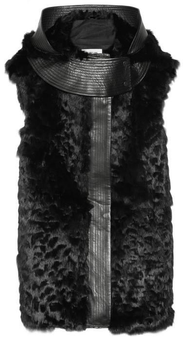 Helmut Lang Fontana hooded leather-trimmed rabbit gilet