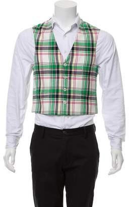 Black Fleece Casual Plaid Vest