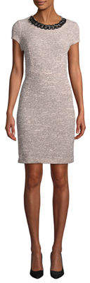 Karl Lagerfeld Paris Chain-Neck Short-Sleeve Tweed Dress