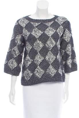 Oscar de la Renta Metallic-Accented Three-Quarter Sleeve Sweater
