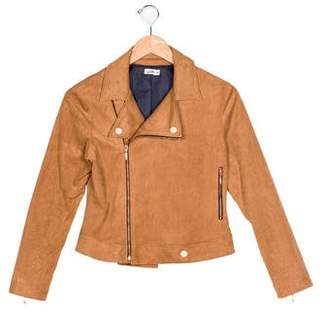 Junior Gaultier Girls' Vegan Suede Asymmetrical Jacket