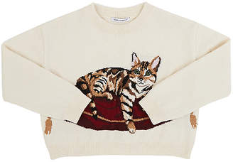 Dolce & Gabbana Kids' Intarsia-Knit-Cat Virgin Wool-Blend Sweater